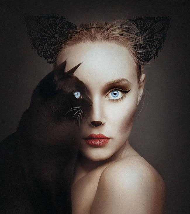 博尔西将动物的一只眼睛与人眼重叠,模特的造型和动物也十分类似。(网页截图)   据美国BoredPanda网站1月20日报道,匈牙利摄影师弗洛拉·博尔西(Flra Borsi)在她最新的作品集中展示了一系列超现实的人物肖像。在这些肖像中,博尔西将动物的一只眼睛与人眼重叠,模特的造型和动物也十分类似,整个画面极具视觉冲击力。   据悉,博尔西的作品在巴黎卢浮宫、伦敦萨奇画廊都展出过,甚至还是Photoshop软件自带的示范图。