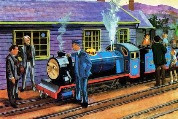 瘦牧师、胖牧师与柏特 奥德瑞牧师在《小小火车头》一书中记录了瘦牧师(作者本人)和胖牧师(作者的朋友泰迪·波士顿牧师,他在其所属的莱斯特郡教会辖区内有一条火车线路)的一次考察。书中阿雷斯代尔的三个小型蒸汽火车头——瑞克斯(Rex)、柏特(Bert)和迈克(Mike)的名字,来源于雷文格拉斯和艾斯克代尔的火车头瑞福·艾斯克(River Esk)、瑞福·厄特(River Irt)与瑞福·迈特(River Mite)。该线路总经理特