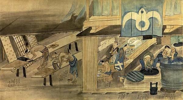 """日本绘画中的染坊 """"班墨之争""""给予后世无限的遐想。2000多年前发生在古代中国的这场""""工匠内战"""",几可目为而今坊间关于""""工匠精神""""、""""科学主义""""等议题诸多辩难的预演与预言。新时代的工匠,自应兼具鲁班的精湛技艺和审美志趣,以及墨子讲求效用的实践精神与充满光热的人道主义关怀。 (作者系香港墨教协会主席"""