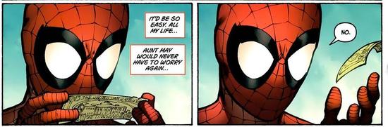"""小蜘蛛常年霸占漫威人气王,漫画和动画中彼得·帕克经受了常人所不能经受的,几乎失去过所有亲人,包括未出生的孩子,而他依然充满热情和阳光的面对这个世界,对这个世界报以无比的善意。如今他事业有成,拥有自己的公司,但他想的不是如何发展壮大,而是以这份更大的力量肩负起更伟大的责任(接纳那些渴望改过自新却被社会所不容的超级罪犯)。他是这个充满负能量的世界的一道光。   """"能力越大,责任越大""""   当蜘蛛侠还小的时候就已有着成熟的三观和坚定的信念。即使这部影片中没有直接出现漫"""