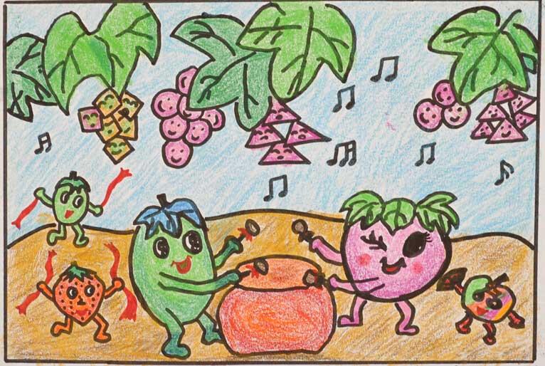 秋天的果园儿童画作品图片