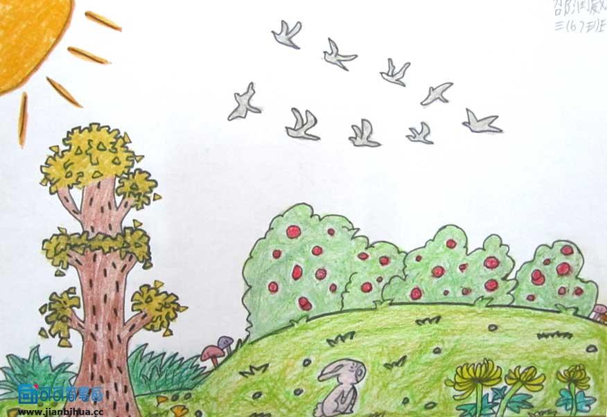 秋天的图画的儿童画-儿童画夏天的图画 我爱吹泡泡
