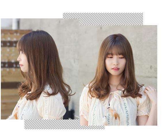 夏季长发发型 齐刘海直中长发发图片