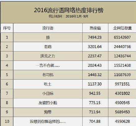 """2016年十大网络流行语排行榜出台"""" 小目标、套路上榜"""""""