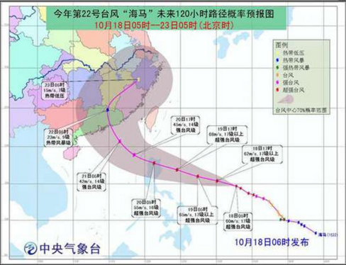 台风海马路径实时发布系统 22号台风 海马 最新路径图