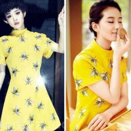 黄色连衣裙,裙子上面的小蜜蜂图案俏皮可爱,赵丽颖搭配清爽的短发