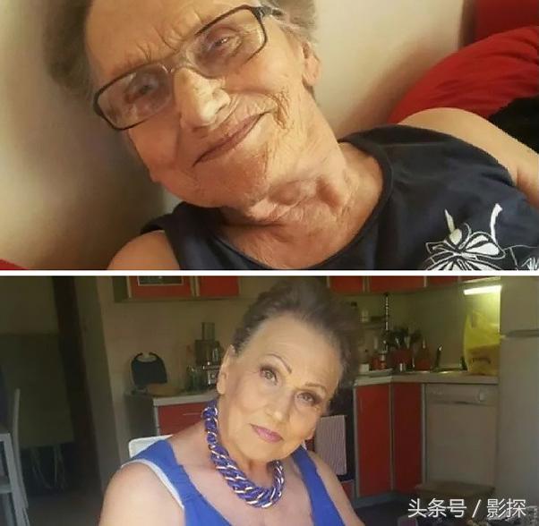 八旬岁的老太让孙女帮忙化妆 结果瞬间年轻40岁!