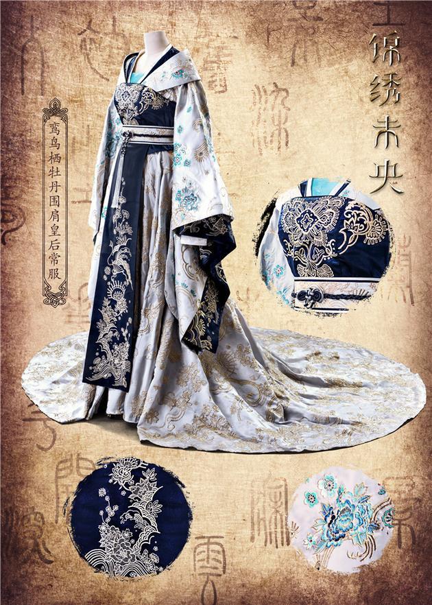 古装花纹衣襟素材