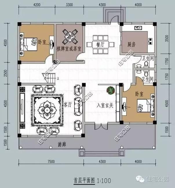 一層平面圖:南向客廳,臥室套間,入室玄關,北側餐廳,廚房,棋牌室
