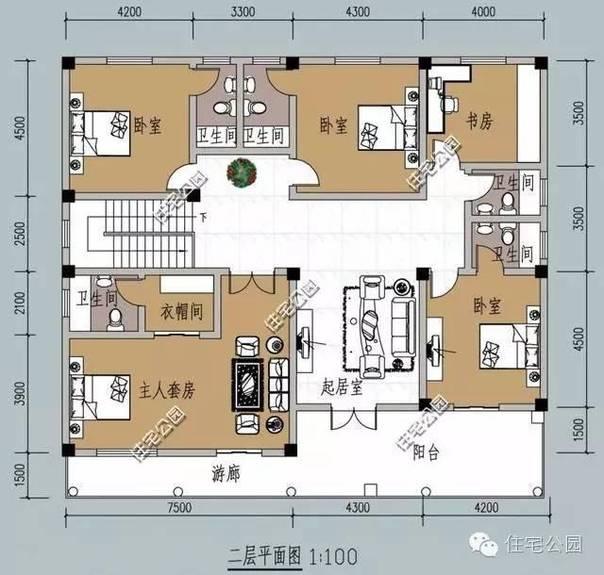 新农村别墅16米面宽户型 7个卫生间再也不用为洗漱排队了(2)