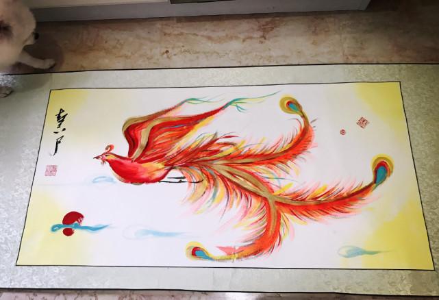 张馨予作画拜年 手绘一幅凤凰栩栩如生一派新春气息 4