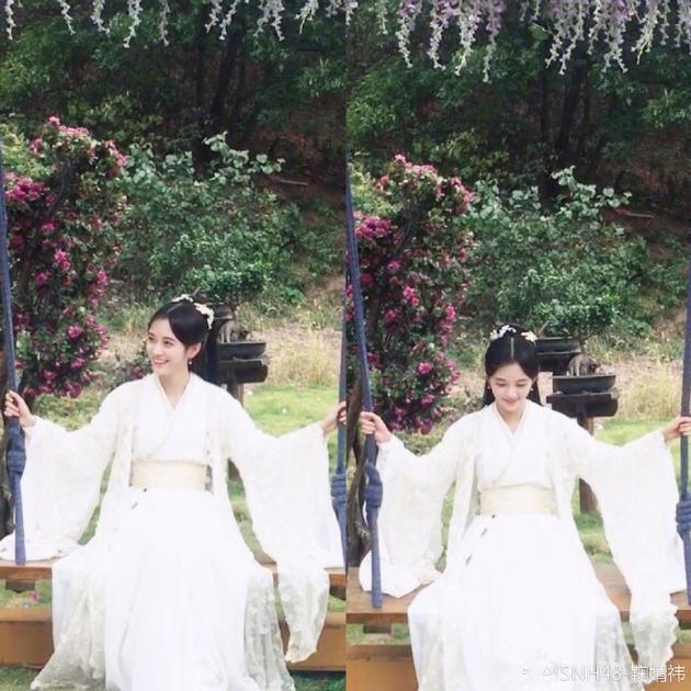 小仙女本人!鞠婧祎一身古裝白衣蕩秋千笑容甜美