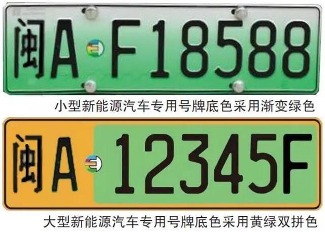 与现有的普通汽车号牌相比,新能源汽车号牌增加专用标志,标志整体以绿