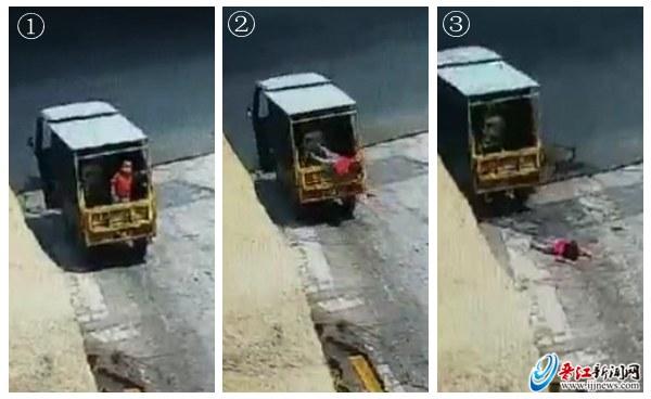 泉州:三岁男孩从电动三轮车上掉下 奶奶开车浑然不知