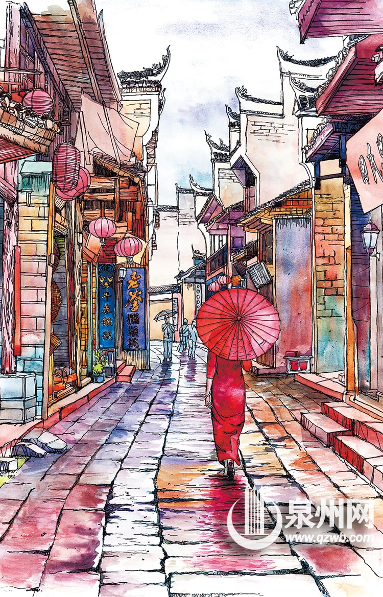 手绘作品《凤凰古城》