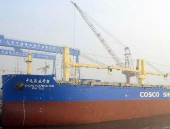 中国造最大多用?#23616;?#27974;船在大连交付