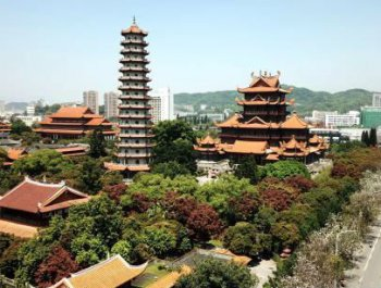 航拍福州千年古刹西禅寺