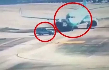 福州机场内,SUV险撞飞机!飞机被逼停