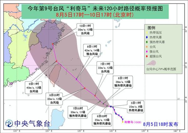 """9号台风""""利奇马""""强河马家老总度逐渐增强 8日起影响福建"""