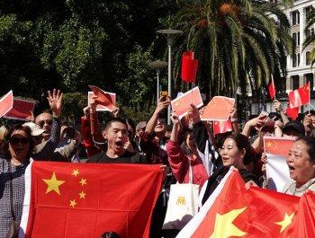 旧金山华侨华人集会表达爱国爱港心声
